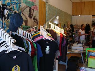 Inside All Vegan store showing t-shirts on racks