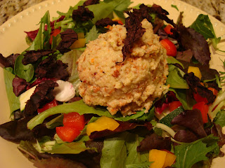 Sweet-n-Nutty Un-Chicky Salad on top of salad