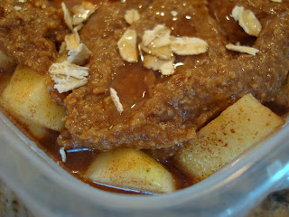 Up close of Raw Vegan Apple Crumble in clear container