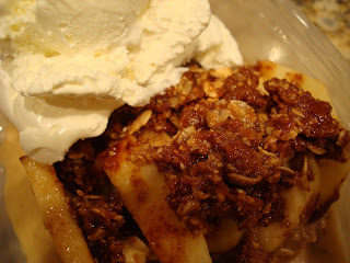 Up close of Raw Vegan Cinnamon Apple Crumble over Banana Softserve with cool whip