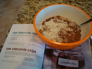 Raw Vegan Chocolate Chocolate-Chip Cookies mixture in bowl over cookbook