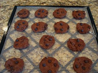 Batter formed into cookie shapes and placed on dehydrator tray