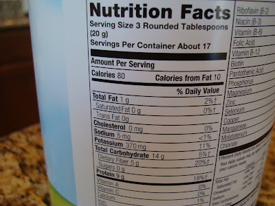 Nutrition Facts on container