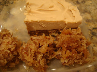 Vegan Blondie Macaroons and Vegan Cheesecake in clear container