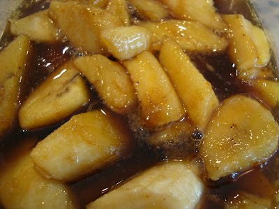 Close up of Vegan Bananas Foster in container