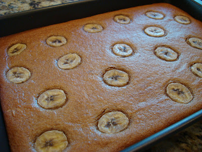 Vegan Peanut Butter Banana Bread Cake in baking pan