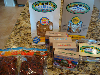 A variety of flax seed crackers on countertop