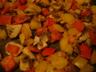 Close up of softened vegetables in saute pan