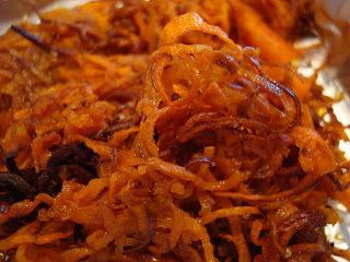 Close up of Spiralized Sweet Potatoes after baking