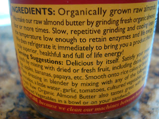Ingredients on back of container of almond butter