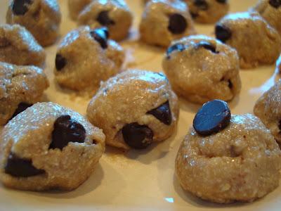 High Raw Vegan Chocolate Chip Cookie Dough Balls on plate