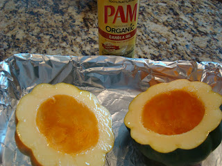 Squash sprayed with Organic Pam Canola Oil spray