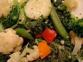 Kale Salad with mixed vegetables in homemade sauce