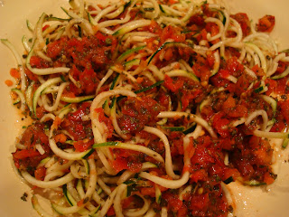 Red Marinara Sauce and noodles tossed together
