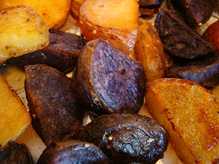 Close up of Ginger Roasted Tri-Colored Potatoes