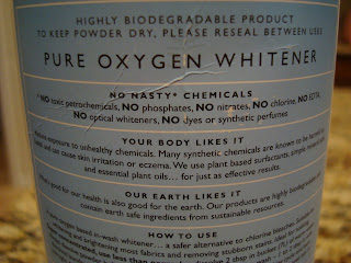 Back of Pure Oxygen Whitener showing what it does not contain