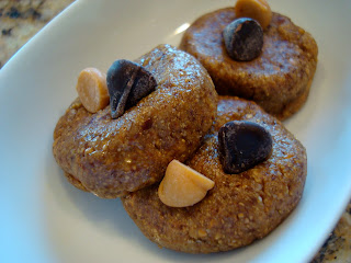 Three Raw Vegan Almond Butter Cookies in white dish