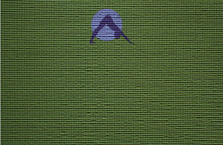 Close up of green yoga mat