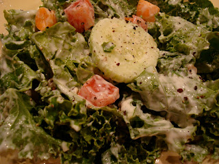 Up close of Kale Salad with Cesar-Inspired Dressing