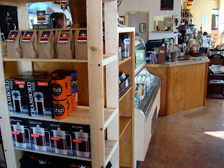 Coffee shop with shelves of coffee