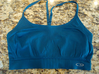 Blue sports bra on countertop