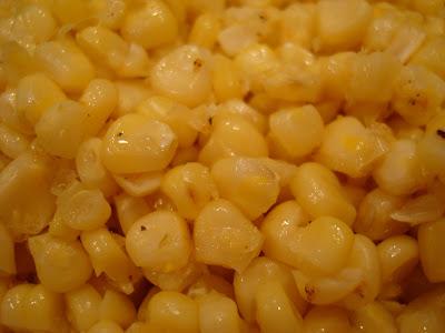 Corn off cob close up