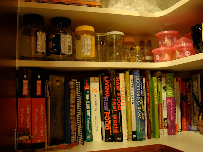 Shelves with books and containers