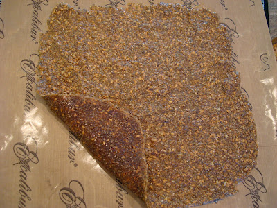 Side of dehydrated crackers flipped up