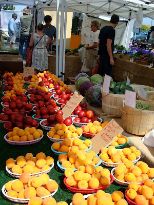 Various fruits on table at Farmer's Market