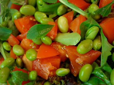 Close up of Edamame Salad with Stevia leaves