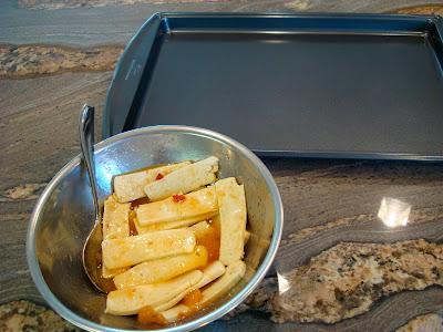 Mango Ginger Maple Tofu next to baking sheet