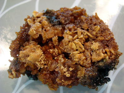 Overhead of Muffin on plate showing streusel