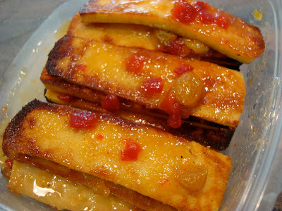 Stacked Mango Ginger Maple Tofu in clear container