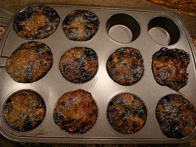Baked Vegan Gluten Free Blueberry Streusel Muffins in muffin tin