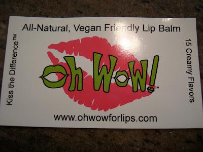 Oh Wow Vegan Friendly Lip Balm business card