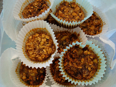 Overhead of stacked Vegan Gluten Free Cinnamon Raisin Banana Oatmeal Muffins