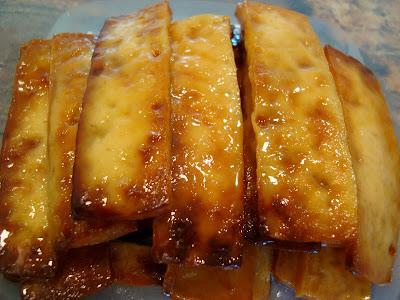 Green Tea and Honey Ginger Baked Tofu showing caramelized glaze