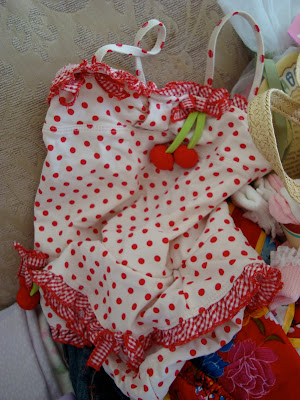 Girls polka dot red and white swimsuit