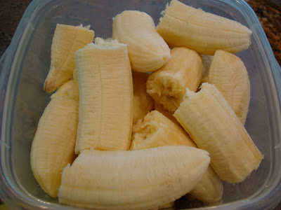 Close up of sliced bananas in container