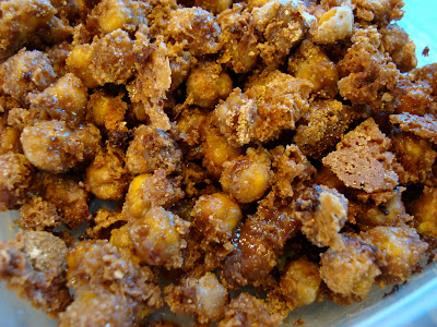 "Close up of Cinnamon Sugar Chickpea ""Peanuts"" in container"