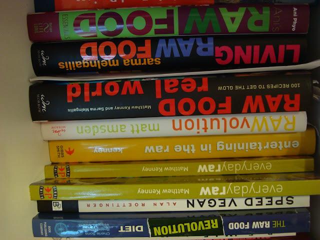 Close up of Vegan Books on shelf