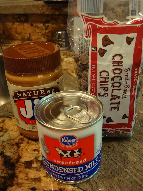 Ingredients needed to make Chocolate Peanut Butter Fudge