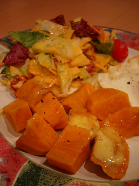 Close up of sweet potatoes on plate