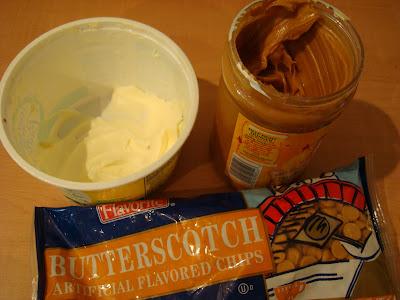 Butter, peanut butter and butterscotch chips