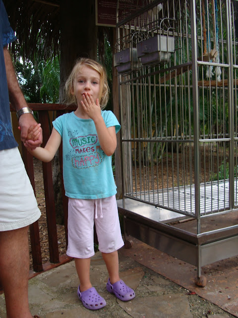 Little girl holding mans hand by bird cage