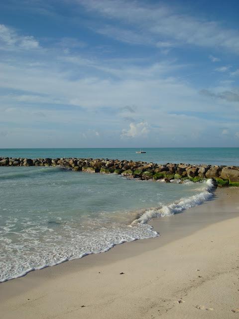 Beach in Aruba with rocks