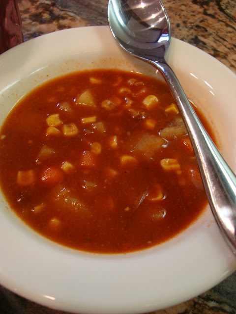 Close up of Spicy Vegetable, Corn, & Bean Soup in bowl