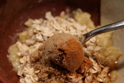 Cinnamon added to ingredients being stirred up