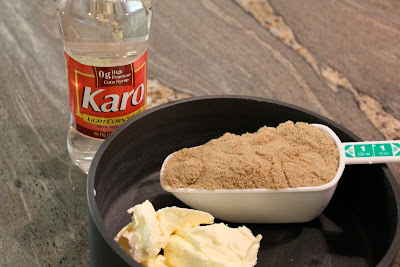 Pan with butter, brown sugar and Karo Syrup
