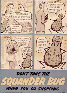 squander bug vintage wartime poster